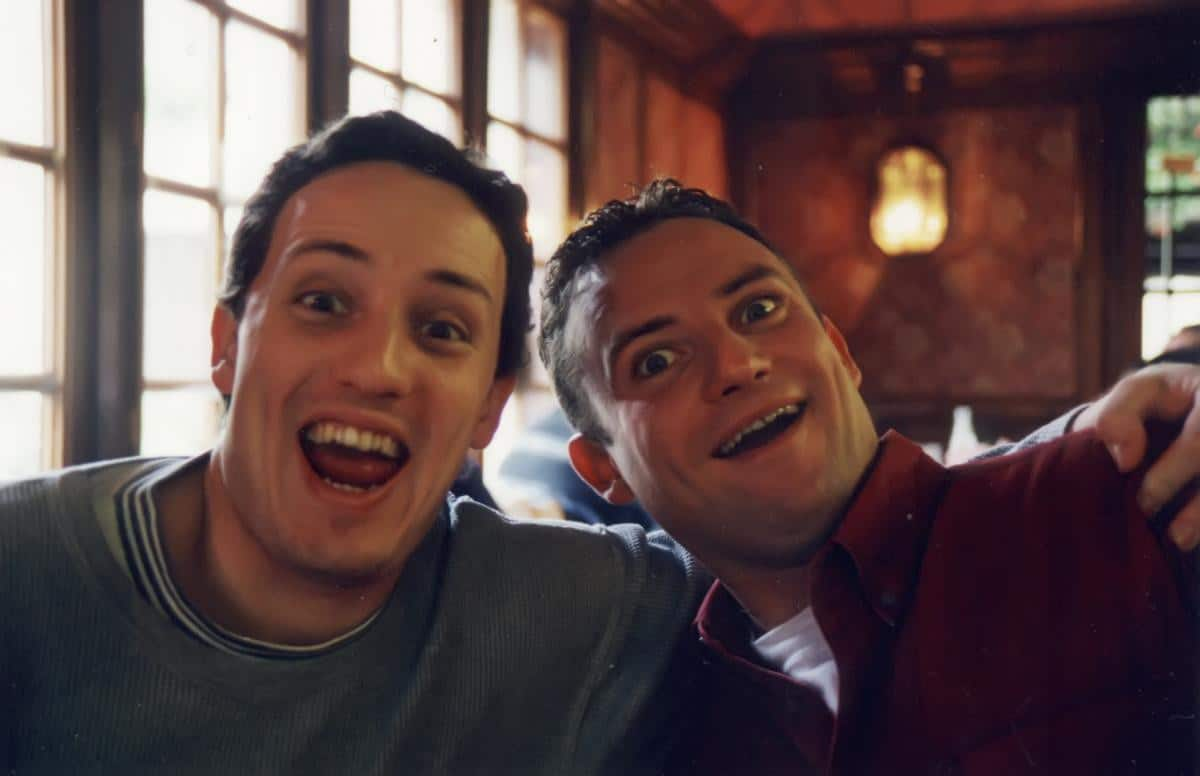 the two Angleraux brothers Frédéric and Raphaël during a recording break in 1998